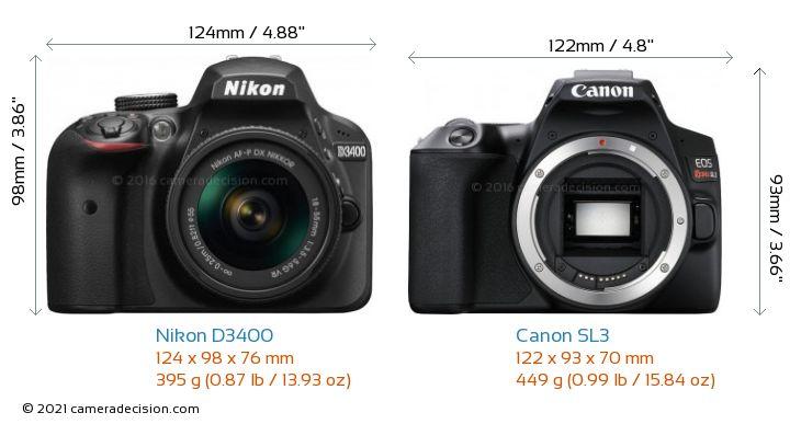 Nikon D3400 vs Canon SL3 Camera Size Comparison - Front View