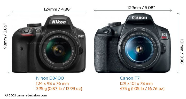 Nikon D3400 vs Canon T7 Camera Size Comparison - Front View