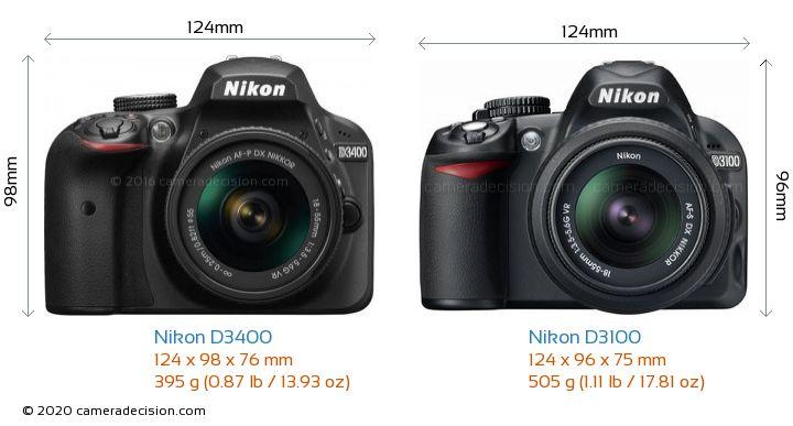 Nikon D3400 vs Nikon D3100 Camera Size Comparison - Front View