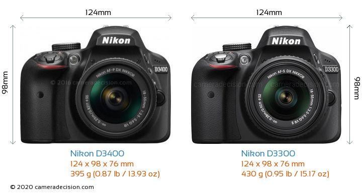 Nikon D3400 vs Nikon D3300 Camera Size Comparison - Front View