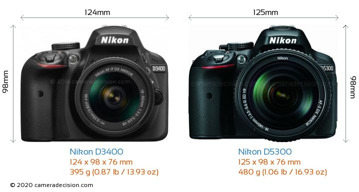 Nikon D3400 vs Nikon D5300 Camera Size Comparison - Front View