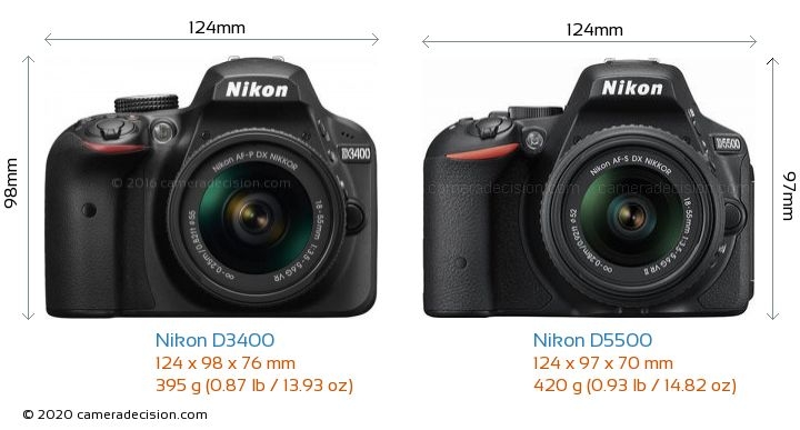 Nikon D3400 vs Nikon D5500 Camera Size Comparison - Front View