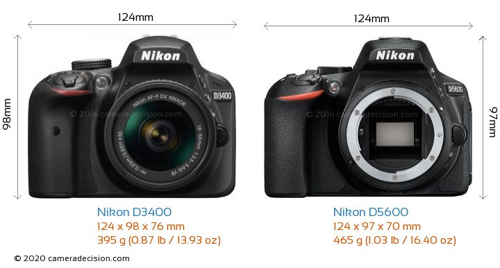 Nikon D3400 vs Nikon D5600 Camera Size Comparison - Front View