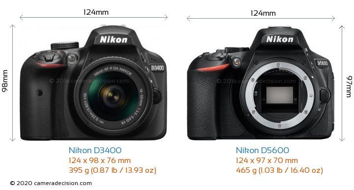 Nikon D3400 vs Nikon D5600 Camera Size Comparison - Front View