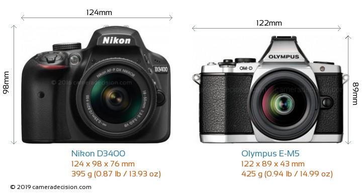 Nikon D3400 vs Olympus E-M5 Camera Size Comparison - Front View
