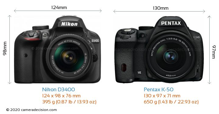 Nikon D3400 vs Pentax K-50 Camera Size Comparison - Front View