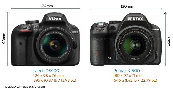 Nikon D3400 vs Pentax K-500 Camera Size Comparison - Front View