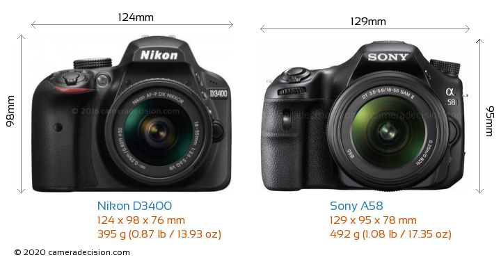 Nikon D3400 vs Sony A58 Camera Size Comparison - Front View