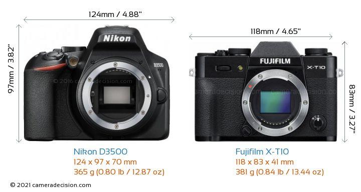 Nikon D3500 vs Fujifilm X-T10 Camera Size Comparison - Front View