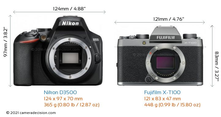 Nikon D3500 vs Fujifilm X-T100 Camera Size Comparison - Front View