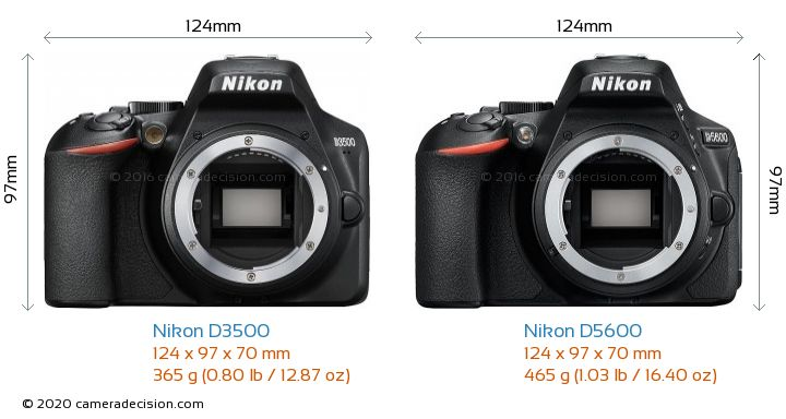 Nikon D3500 vs Nikon D5600 Camera Size Comparison - Front View