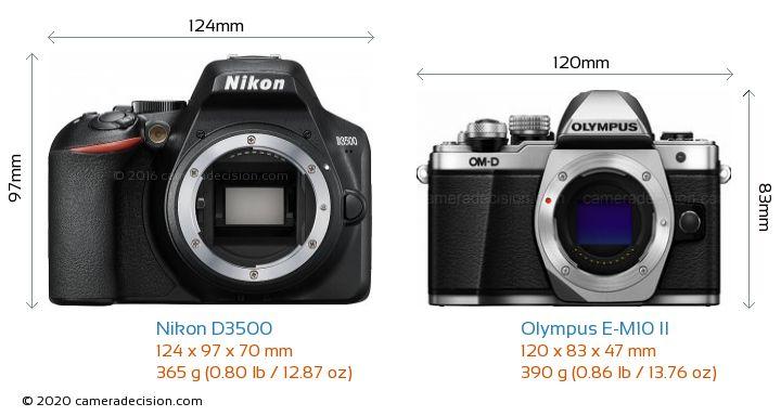 Nikon D3500 vs Olympus E-M10 II Camera Size Comparison - Front View