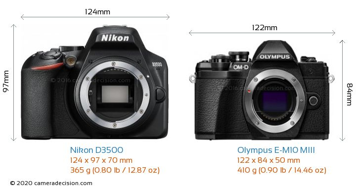 Nikon D3500 vs Olympus E-M10 MIII Camera Size Comparison - Front View