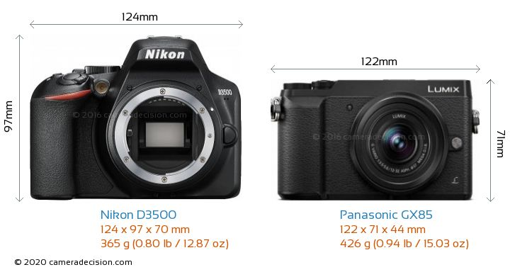 Nikon D3500 vs Panasonic GX85 Camera Size Comparison - Front View