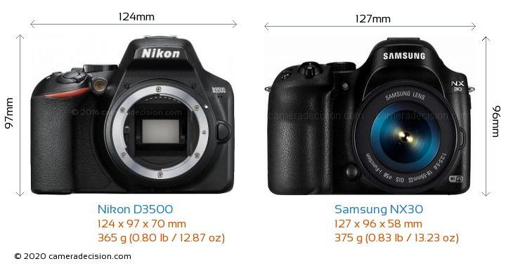 Nikon D3500 vs Samsung NX30 Camera Size Comparison - Front View