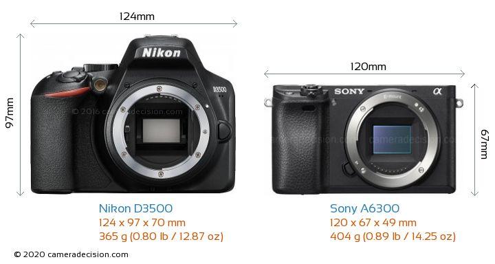 Nikon D3500 vs Sony A6300 Camera Size Comparison - Front View