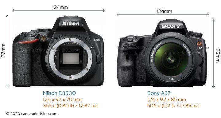 Nikon D3500 vs Sony A37 Camera Size Comparison - Front View