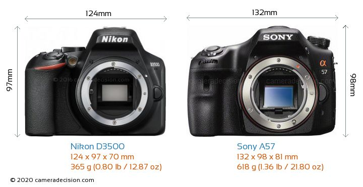 Nikon D3500 vs Sony A57 Camera Size Comparison - Front View