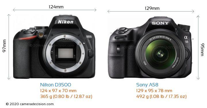 Nikon D3500 vs Sony A58 Camera Size Comparison - Front View