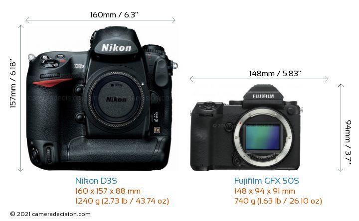 Nikon D3S vs Fujifilm GFX 50S Camera Size Comparison - Front View