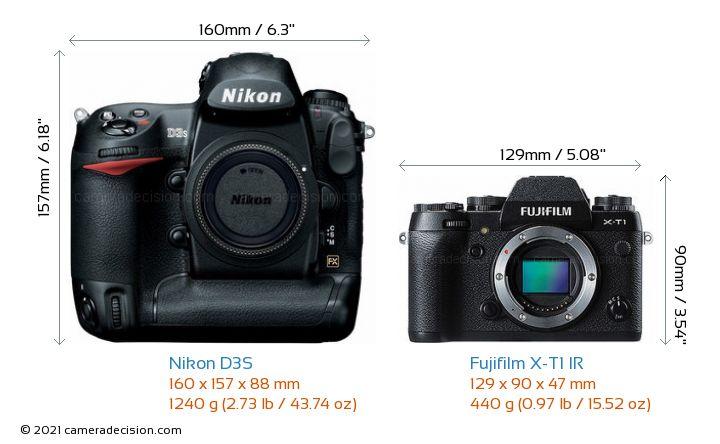 Nikon D3S vs Fujifilm X-T1 IR Camera Size Comparison - Front View