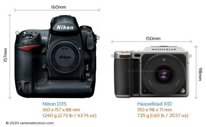 Nikon D3S vs Hasselblad X1D Camera Size Comparison - Front View