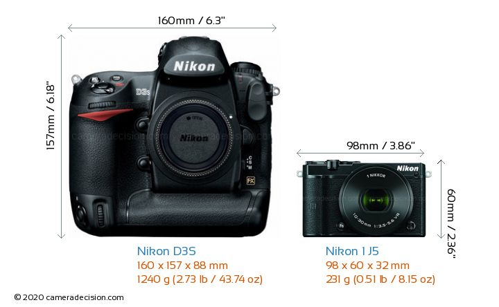 Nikon D3S vs Nikon 1 J5 Camera Size Comparison - Front View