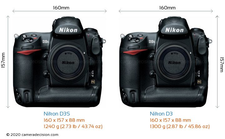 Nikon D3S vs Nikon D3 Camera Size Comparison - Front View