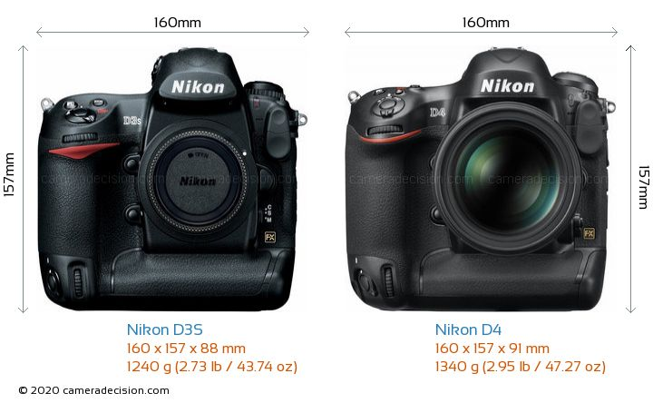 Nikon D3S vs Nikon D4 Camera Size Comparison - Front View