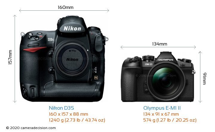 Nikon D3S vs Olympus E-M1 II Camera Size Comparison - Front View