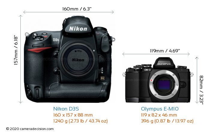 Nikon D3S vs Olympus E-M10 Camera Size Comparison - Front View
