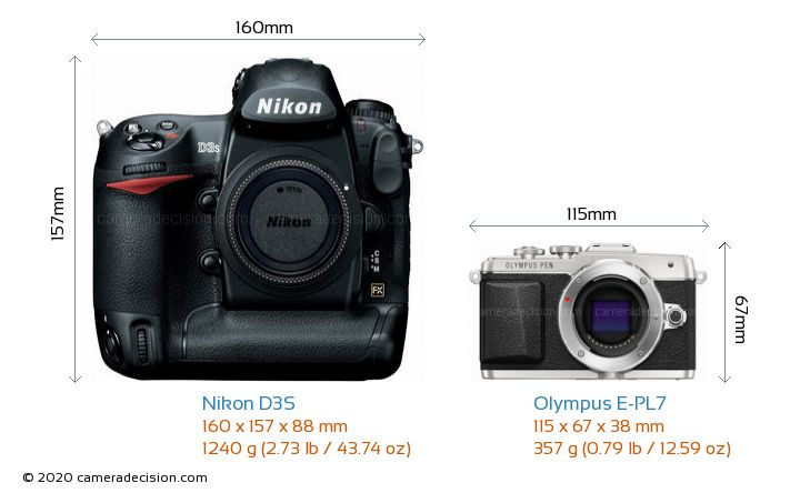 Nikon D3S vs Olympus E-PL7 Camera Size Comparison - Front View
