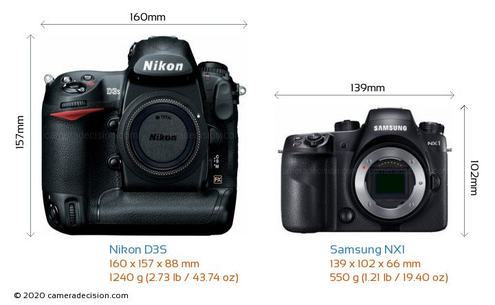 Nikon D3S vs Samsung NX1 Camera Size Comparison - Front View