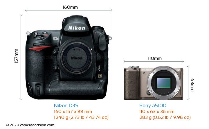 Nikon D3S vs Sony a5100 Camera Size Comparison - Front View