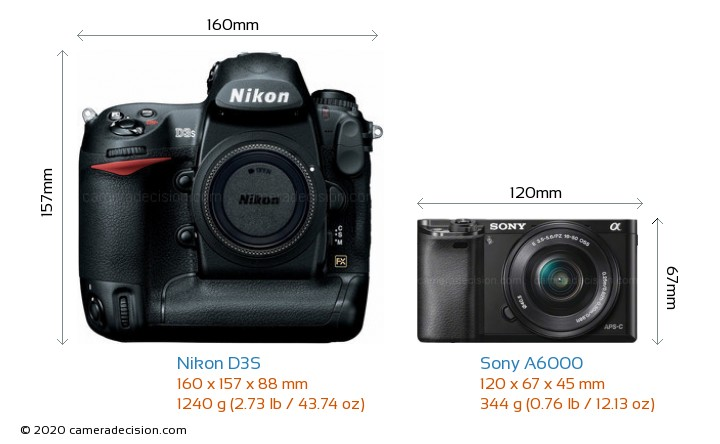 Nikon D3S vs Sony A6000 Camera Size Comparison - Front View