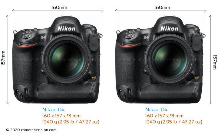 Nikon D4 vs Nikon D4 Camera Size Comparison - Front View