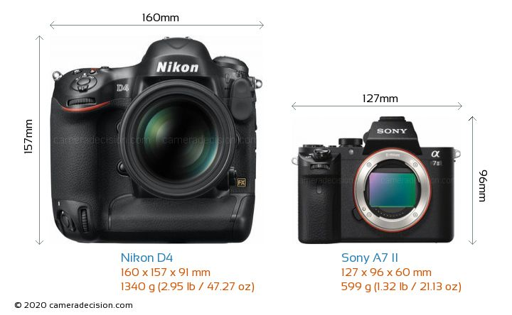 Nikon D4 vs Sony A7 II Camera Size Comparison - Front View