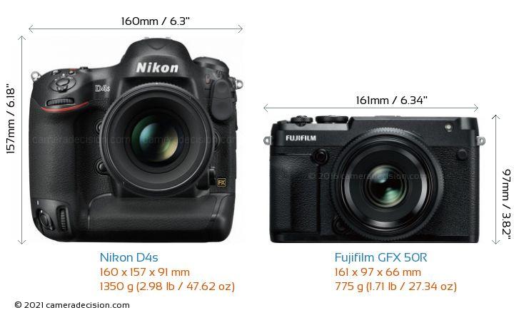Nikon D4s vs Fujifilm GFX 50R Camera Size Comparison - Front View
