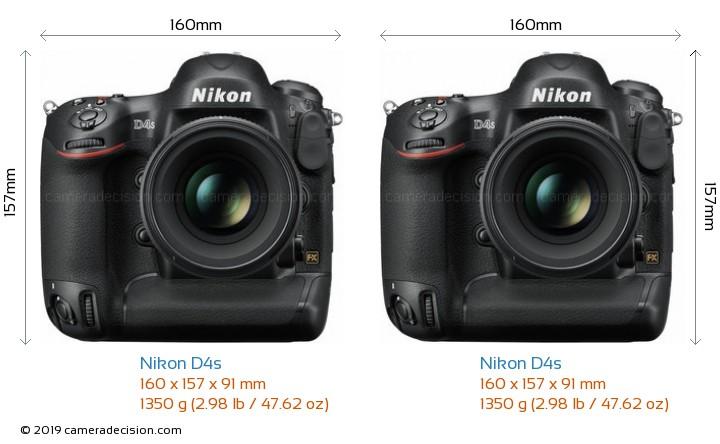 Nikon D4s vs Nikon D4s Camera Size Comparison - Front View