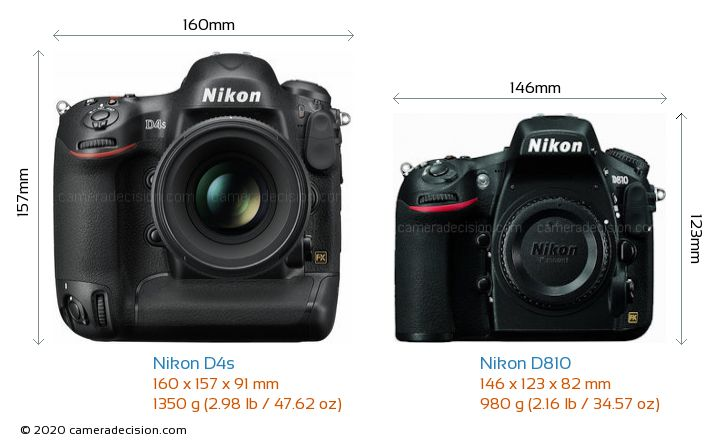 Nikon D4s vs Nikon D810 Camera Size Comparison - Front View