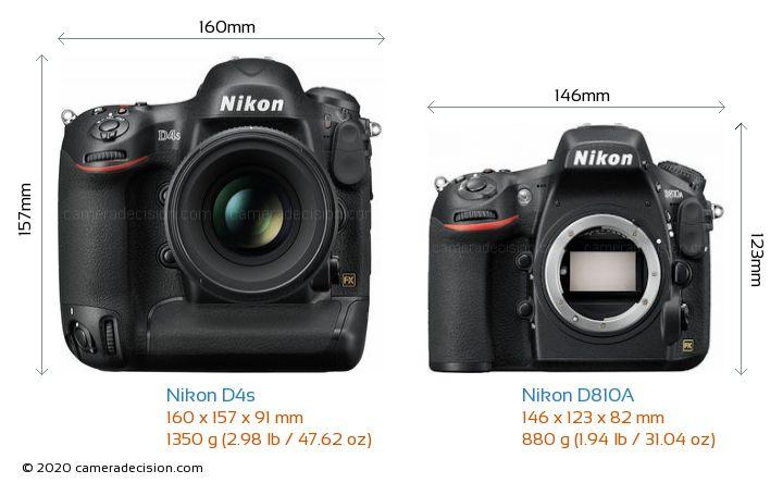 Nikon D4s vs Nikon D810A Camera Size Comparison - Front View