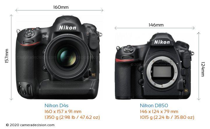 Nikon D4s vs Nikon D850 Camera Size Comparison - Front View