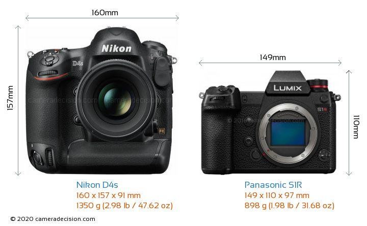 Nikon D4s vs Panasonic S1R Camera Size Comparison - Front View