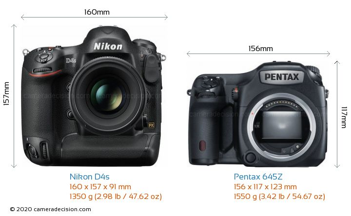 Nikon D4s vs Pentax 645Z Camera Size Comparison - Front View