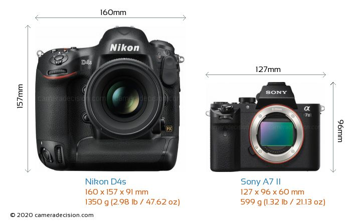 Nikon D4s vs Sony A7 II Camera Size Comparison - Front View