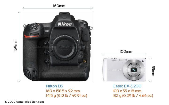 Nikon D5 vs Casio EX-S200 Camera Size Comparison - Front View