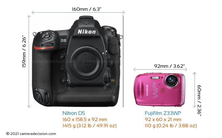 Nikon D5 vs Fujifilm Z33WP Camera Size Comparison - Front View