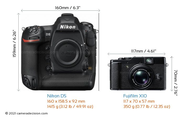 Nikon D5 vs Fujifilm X10 Camera Size Comparison - Front View