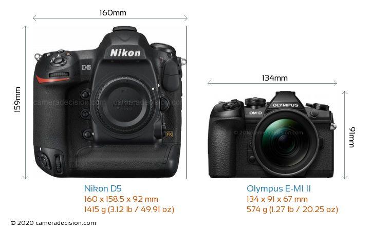 Nikon D5 vs Olympus E-M1 II Camera Size Comparison - Front View