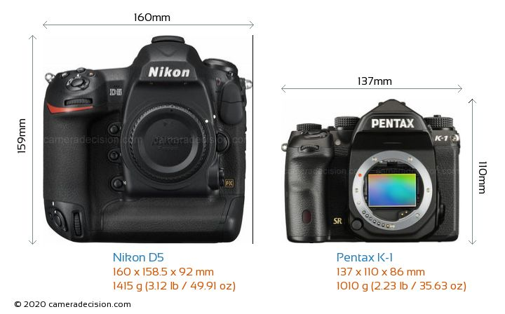 Nikon D5 vs Pentax K-1 Camera Size Comparison - Front View